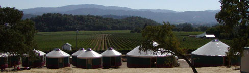 Yurts are used to house migrant workers in Napa Valley, California.