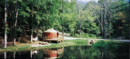 Falling Waters Resort yurt in the North Carolina's Smoky Mountains.