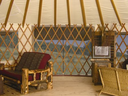 A full wall panel screen offered by Colorado Yurt Company as an option.